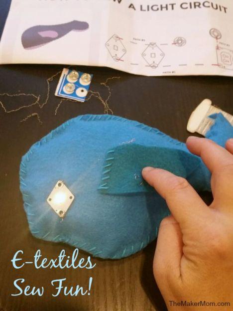 Review of Teknikio's e-textile kit on www.TheMakerMom.com.