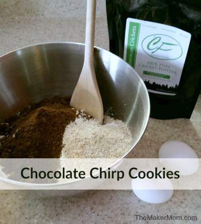 Chocolate Chirp Cookie recipe. Tasty cricket flour cookies that pack a nutritious punch. Recipe at www.TheMakerMom.com.