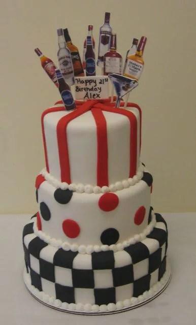 Cakes With Liquor Bottles : cakes, liquor, bottles, Birthday, Tiered, Liquor, Bottles, Popping, Bottle, Topper, Makery