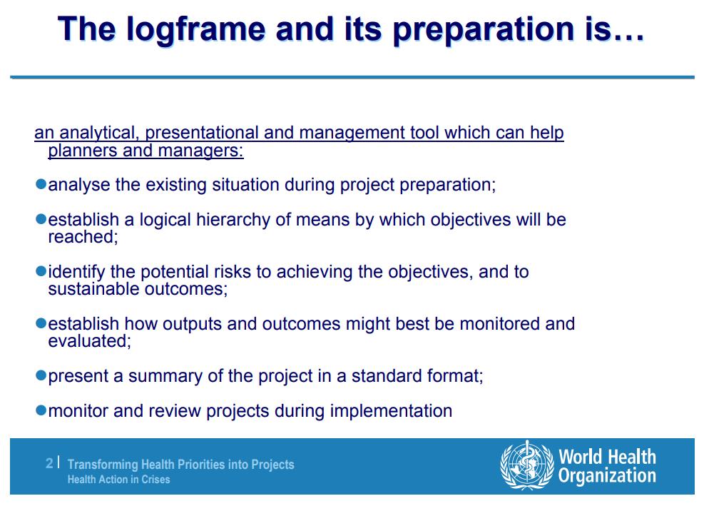 WHO log frame slide