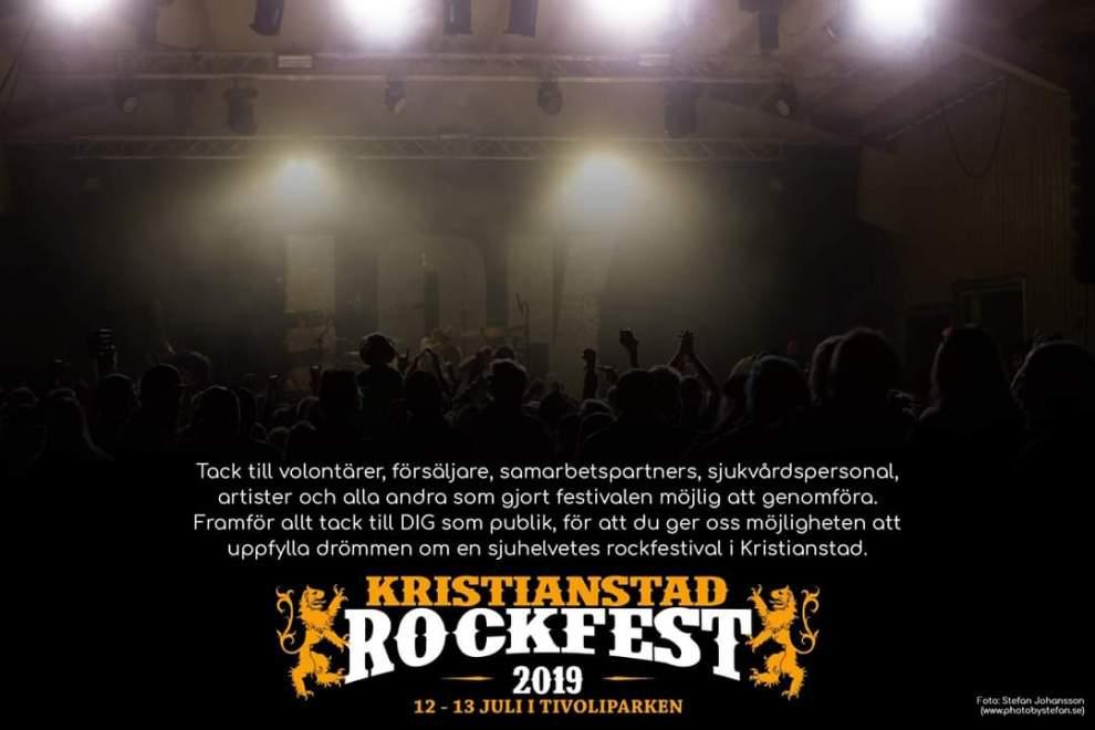 Kristianstads RockFest tackar alla inblandade.