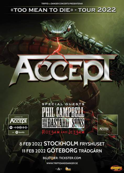 ACCEPT spelar i Stockholm och Göteborg 2022