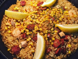 Super Simple & Quick Paella Style Surf & Turf Rice