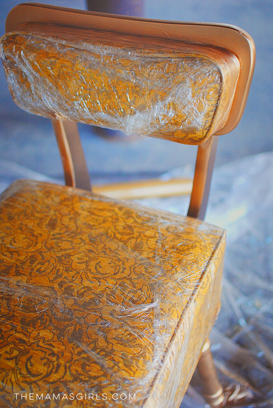 diy rocking chair kit covers for purchase how to mask off furniture when spray painting with plastic wrap