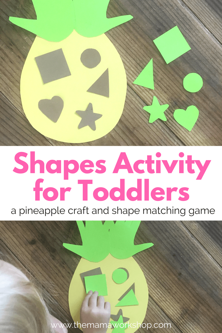 Toddler Shapes Activity. A Pineapple Game for your toddler to introduce shapes.