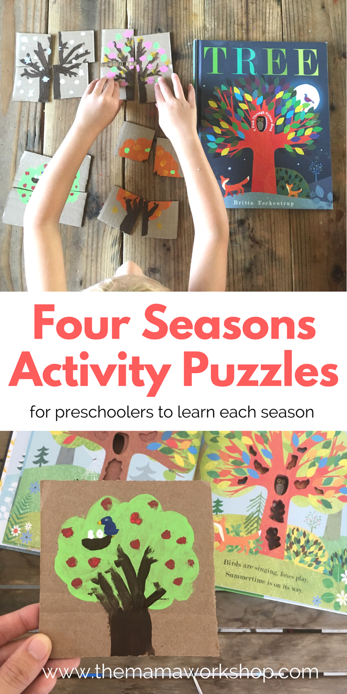 Make these four seasons activity puzzles for your preschooler to learn the four seasons. Read the book Tree to go along with it. It will be so fun!