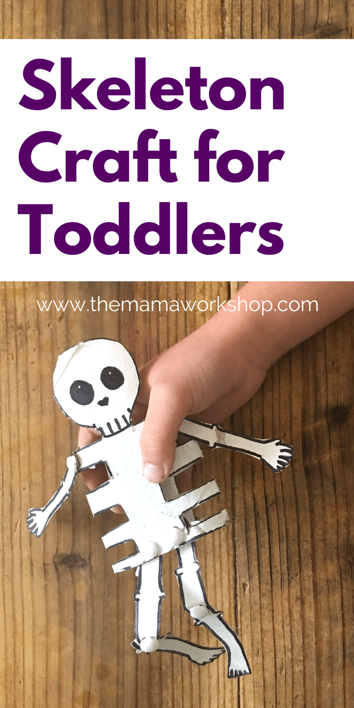 This Skeleton Craft for Toddlers was a hit with my kiddos! We had so much fun making it together and singing Dem Bones! We got to learn about our bones too!