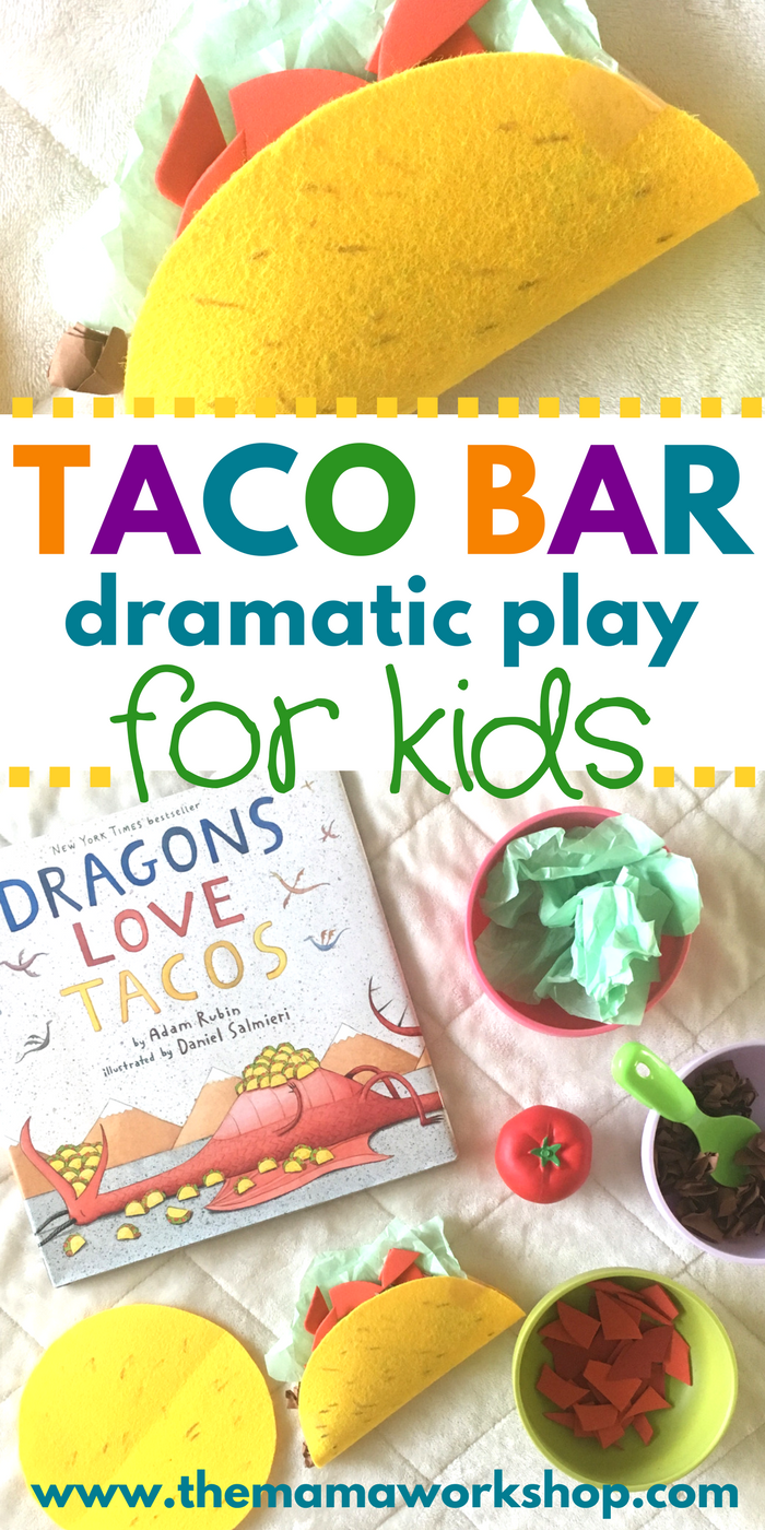 We setup this Taco Bar Dramatic Play Area in our house to pretend we're having a taco party today! It's such fun! I love seeing my kiddos imaginations work. Now, to prep a real family taco party for dinner.