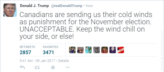 Trump's tweet about Canadian winter weather.