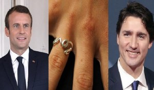 Trudeau, Macron exchange promise rings to signify commitment to fighting climate change