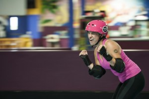 Roller-derby girl apparently really tough or something