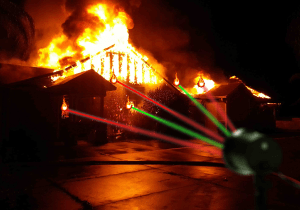 Christmas laser projector goes haywire, incinerates house
