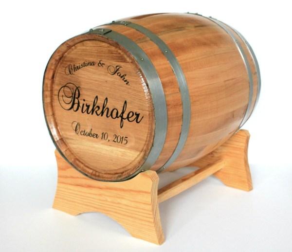 Personalized Wine Barrel Wedding Card Holder - Man