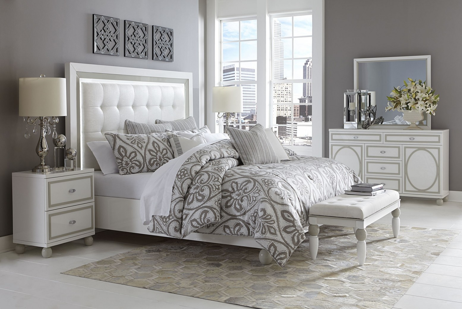 michael amini sky tower bedroom set white cloud finish