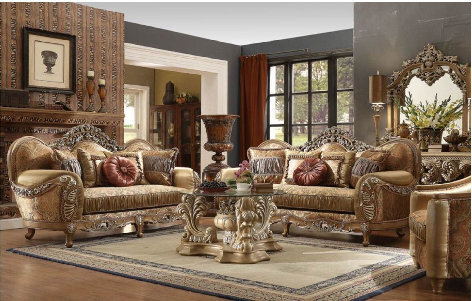 HD 622 Homey Design upholstery living room set Victorian