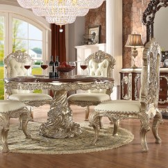 Antique White Dining Chairs Sling Back Chair Replacements Hd8017 Finish Set Round Table Homey Design H8017 Victorian European Classic