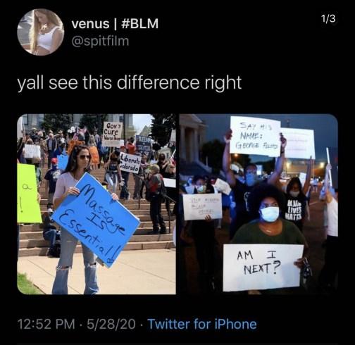 white protestors versus black