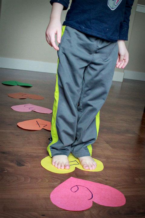 Valentine's Preschool Games - Heart Hopscotch