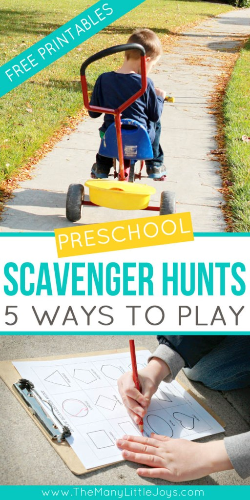 When the weather is good, a preschool scavenger hunt is a great way to get out of the house, get some exercise, and learn with your kids! Here are five ways to hunt, with lots of free printables to get you started!