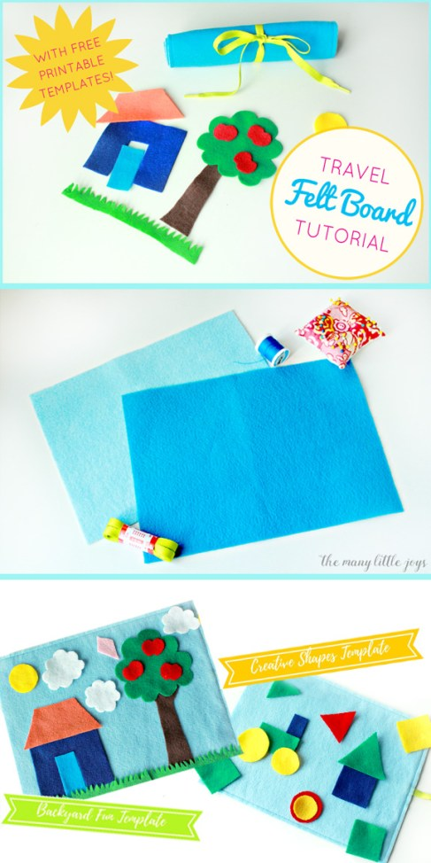 If you're traveling with kids, this travel felt board is a quick DIY craft that makes a great activity for kids stuck on a plane or in a car. It costs less than five dollars, takes less than an hour to make, and will save your sanity when you're on the go with little ones this summer!