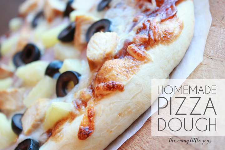If you've ever wondered how to make homemade pizza dough, this is the perfect fail-proof recipe. It yields delicious homemade pizza every time that you can customize with whatever sauce and toppings you choose. Use it for make-your-own pizza parties or for Friday night pizza with the family. Enjoy!