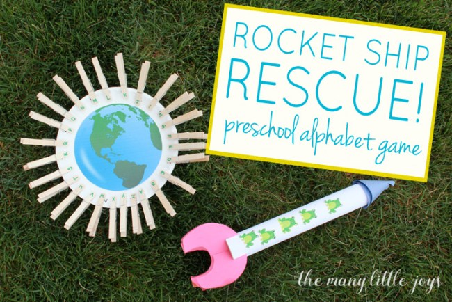 This fun preschool literacy activity is a great way to help kids identify and sequence the alphabet while getting some exercise and even saving the universe!