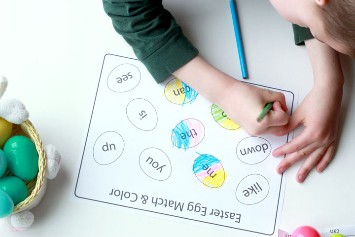 """Make learning fun this Easter season with this """"Match & Color"""" Easter egg activity that can be adapted to practice sight words, the alphabet, numbers, or just about anything! With multiple free printable pages and a customizable template, you can play over and over again!"""