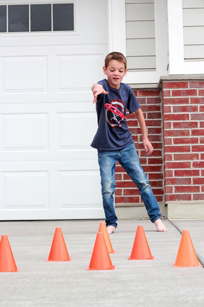 Hot Wheels birthday party games and activities - traffic cone ring toss