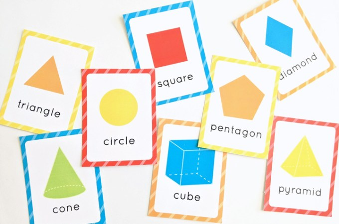 These free printable shape flashcards + hands-on learning activities give you everything you need to help your child master basic two- and three-dimensional shapes in fun and creative ways.