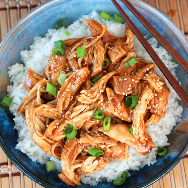 Instant Pot honey garlic chicken over rice