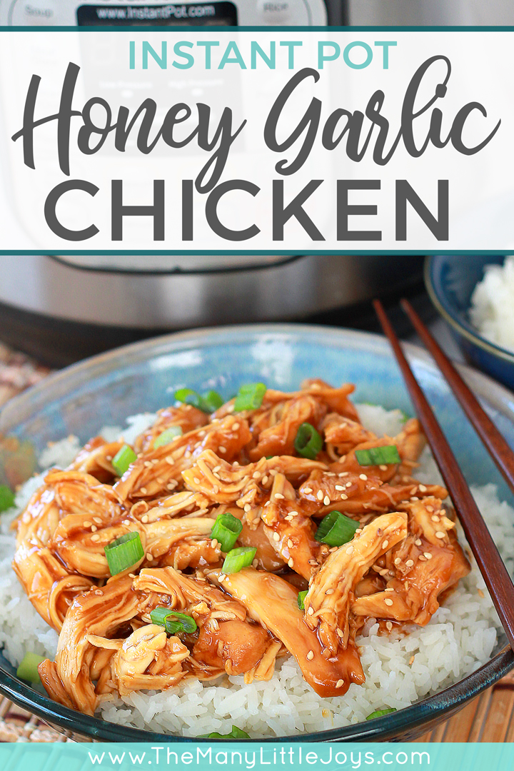 This Instant Pot honey garlic chicken is the perfect weeknight meal. Toss a handful of ingredients in your pressure cooker, walk away, and have a delicious, better-than-takeout dinner on the table in 30 minutes.