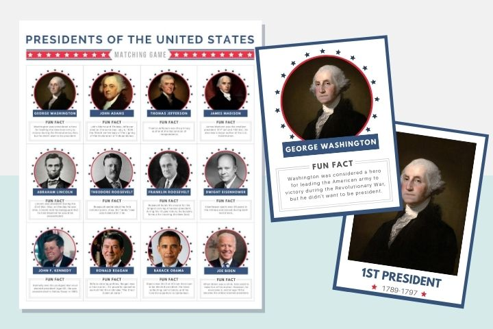 This printable U.S. presidents memory game is a fun way to teach kids fun facts about some of America's most famous presidents.