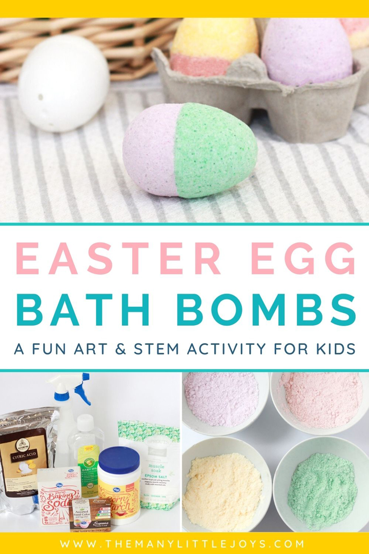 These Easter egg bath bombs are the perfect combination of festive craft and fascinating science! Make them with your kids using easy-to-find ingredients, and then take them to the tub for a fun-filled bath time!