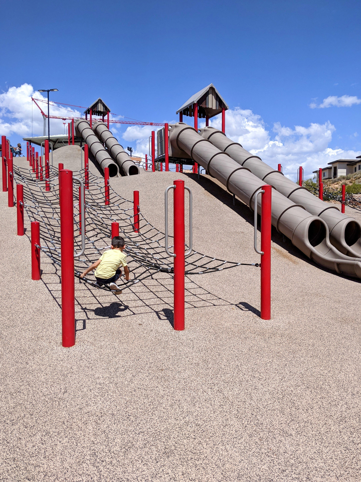 What to do in St. George with kids: Canyon Rim Park Obstacle Course Playground