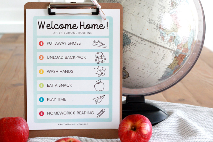Help your family keep home and school life organized with a simple after school routine, complete with free printable checklist!