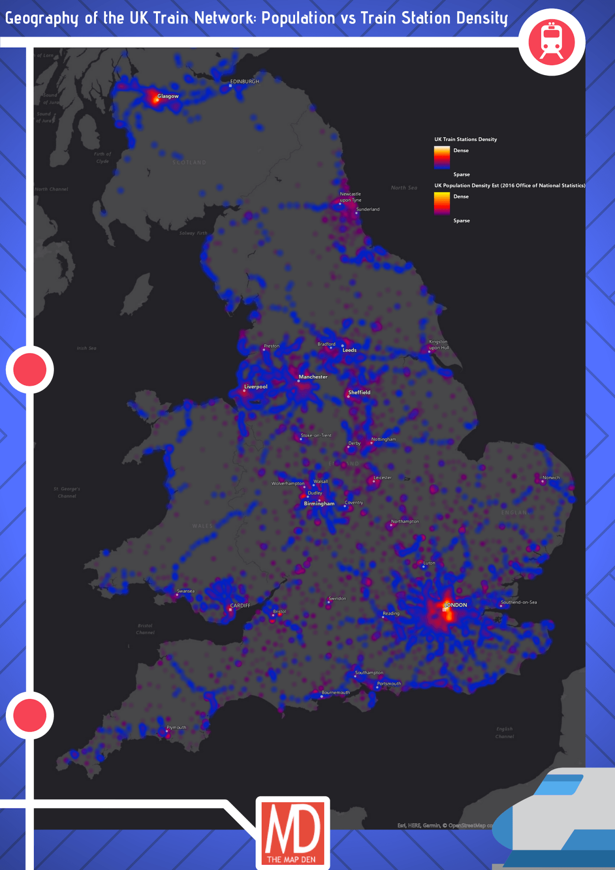 UK Train station density vs Population Density
