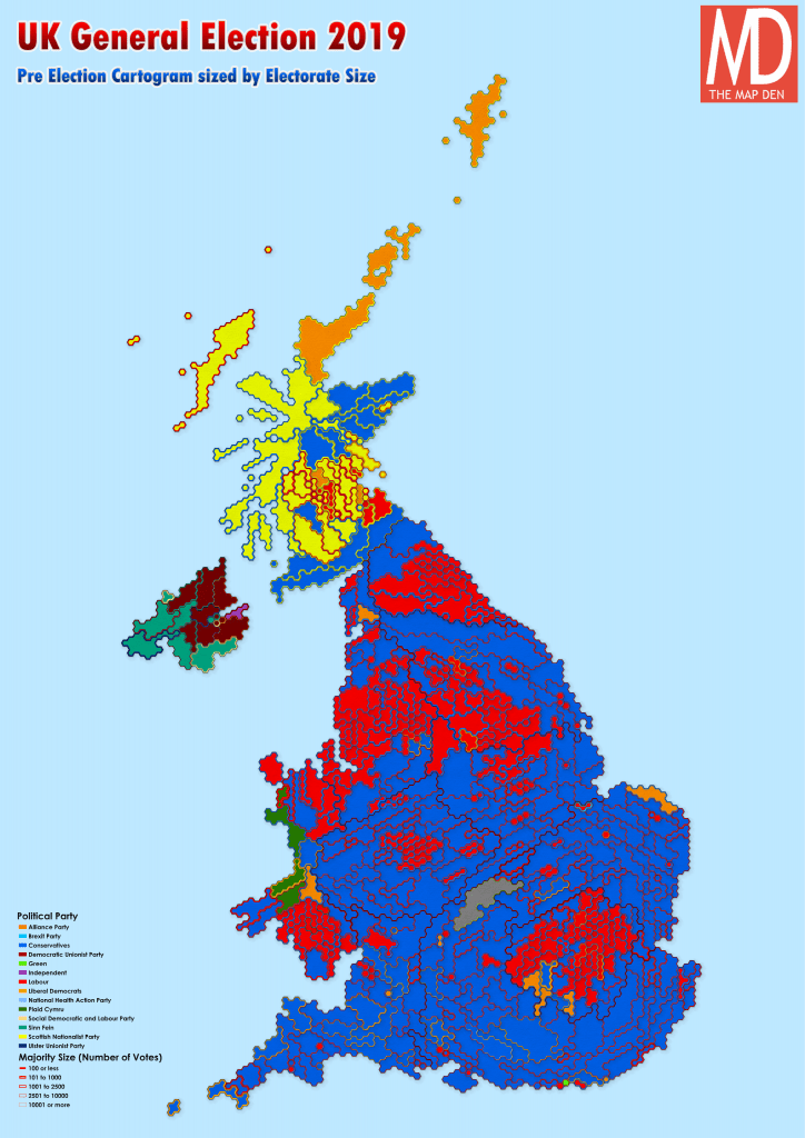 UK 2019 Pre General Election Map Cartogram