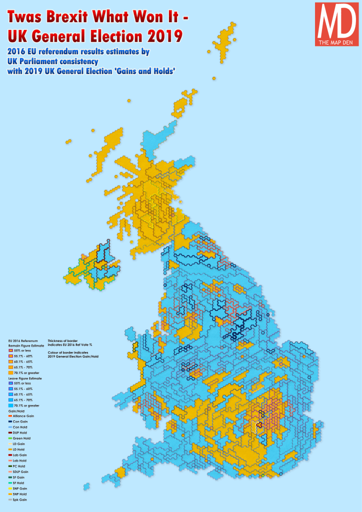 UK 2016 EU Referendum with 2019 General Election Gains and Holds Map Cartogram