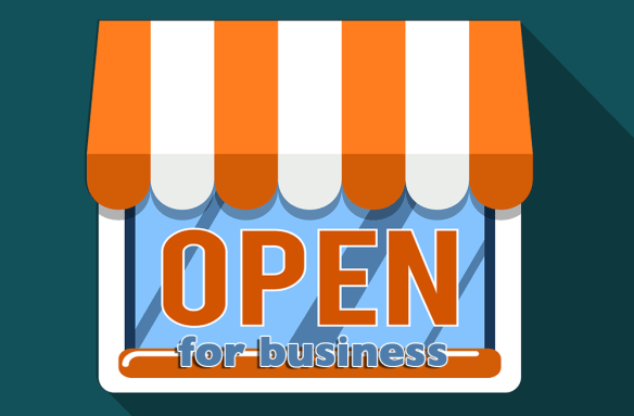 Open for business signage