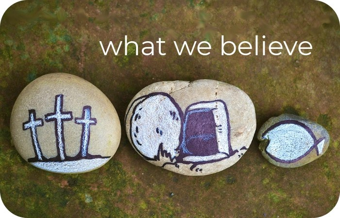 stones with painted Christian images