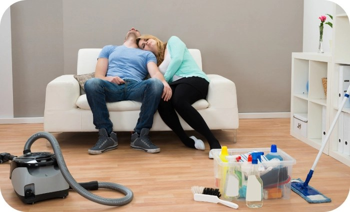 exhausted couple