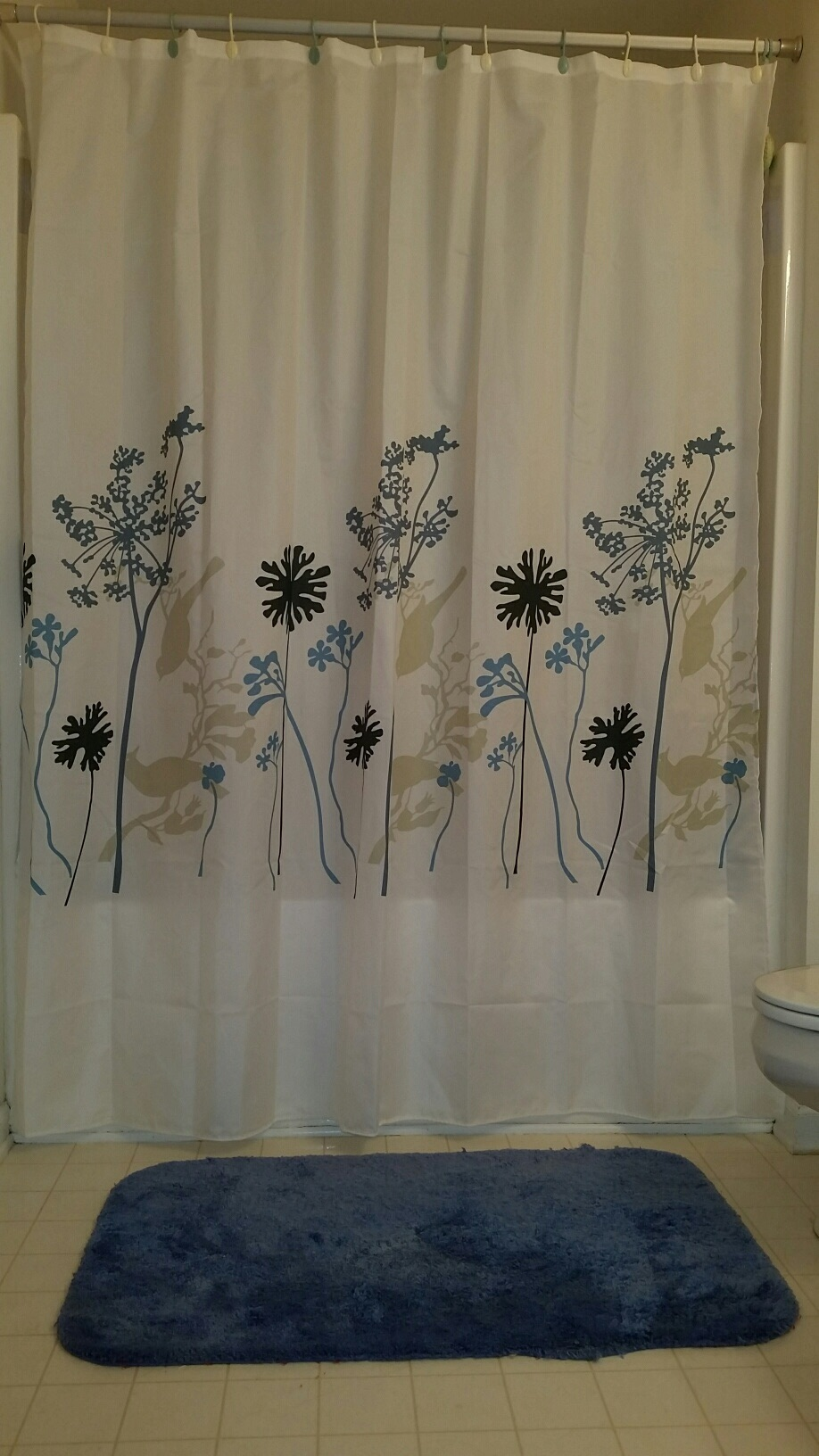 What A Beautiful Waterproof Shower Curtain I Love The Soft Floral Pattern That Has Different Shades Of Blue It Goes Perfect With My Bathroom Colors