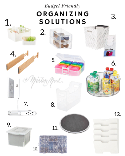 A roundup of budget friendly organizing solutions for every room in the home.
