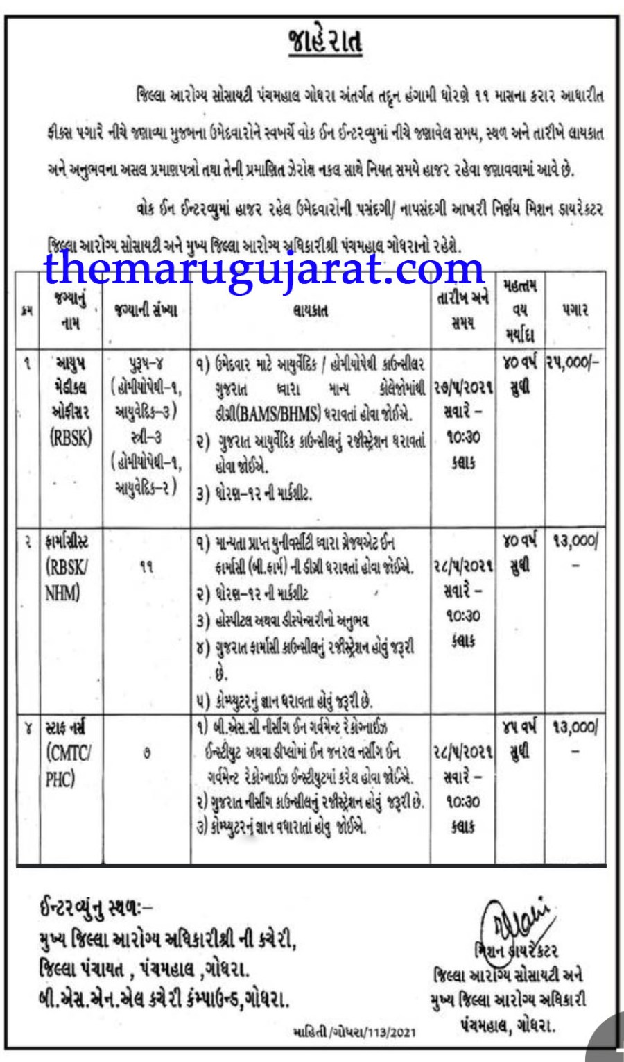 DHS Panchmahal Recruitment For Ayush Medical Officer, Pharmacist & Other Posts 2021
