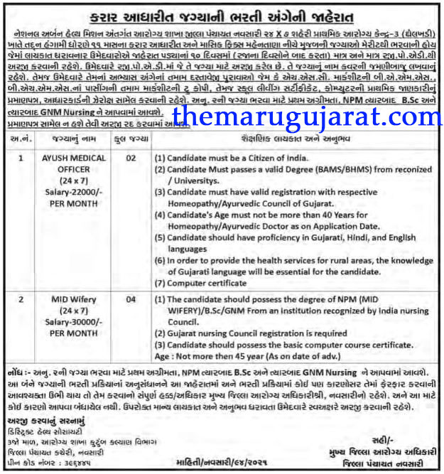 National Urban Health Mission Navsari Recruitment For 06 Mid Wifery & Ayush Medical Officer Posts 2021