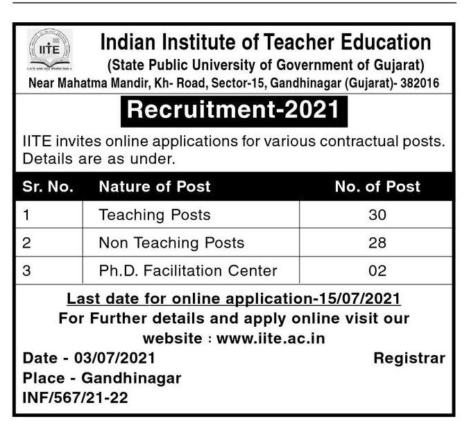 Indian Institute of Teacher Education Recruitment For 60 Teaching Posts & Non-Teaching Posts 2021
