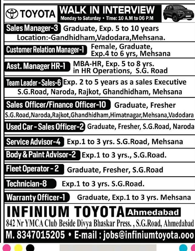 Infinium Toyota Ahmedabad Jobs For Various Posts 2021