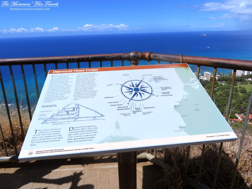 Information Board of Diamond Head Crater on The Observation Deck