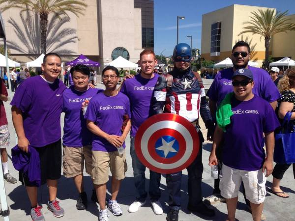 Cosplay photo with Fed Ex volunteers