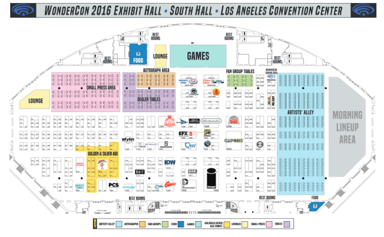 Wondercon 2016 exhibit hall map